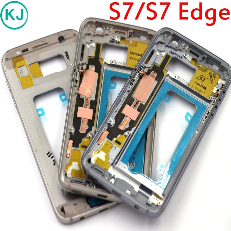 10pcs New S7 Edge / S7 Middle Frame For Samsung Galaxy G930F G935F Metal Mid Plate Housing Bezel Chassis With Small Parts
