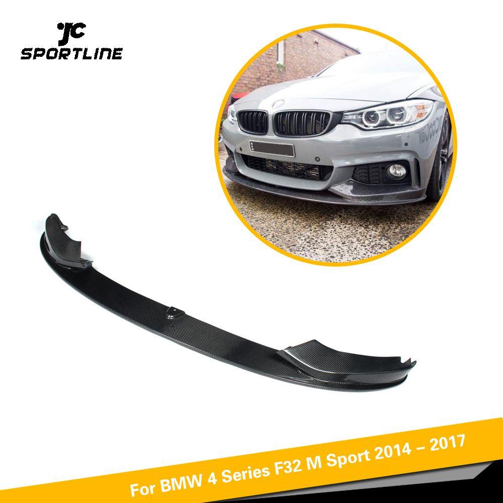 Für BMW 4 Serie F32 F33 F36 M Sport M tech Auto Vorderen Stoßfänger Lip Spoiler Guard Carbon Faser/ FRP Schwarz 2014-2018