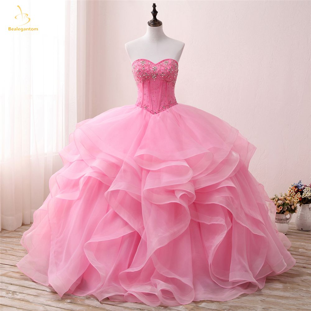 Bealegantom New Pink Sweetheart Quinceanera Dresses 2018 Ball Gown With Beaded Crystal Sweet 16 Dress Vestidos De 15 Anos QA1307
