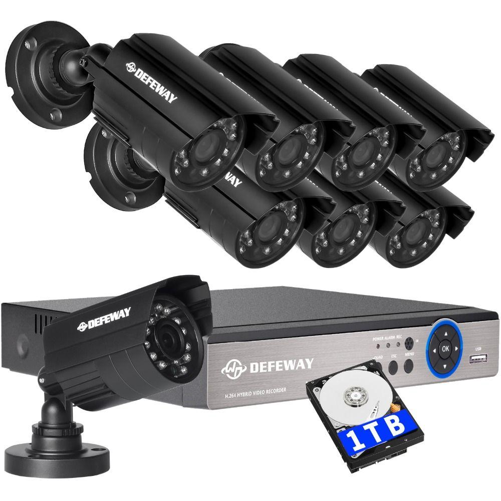 DEFEWAY 1080N HDMI DVR 1200TVL 720 P HD Extérieure de Sécurité À Domicile Système de caméra 8CH Vidéo Surveillance DVR 1 TB HDD AHD CCTV Kit