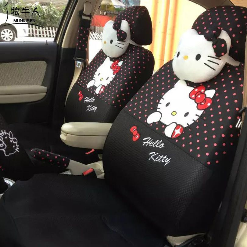MUNIUREN 18pcs Cute Polka Dots Print Car Seat Covers for Women Car Styling Cartoon Hello Kitty Universal Seat Cover - Black