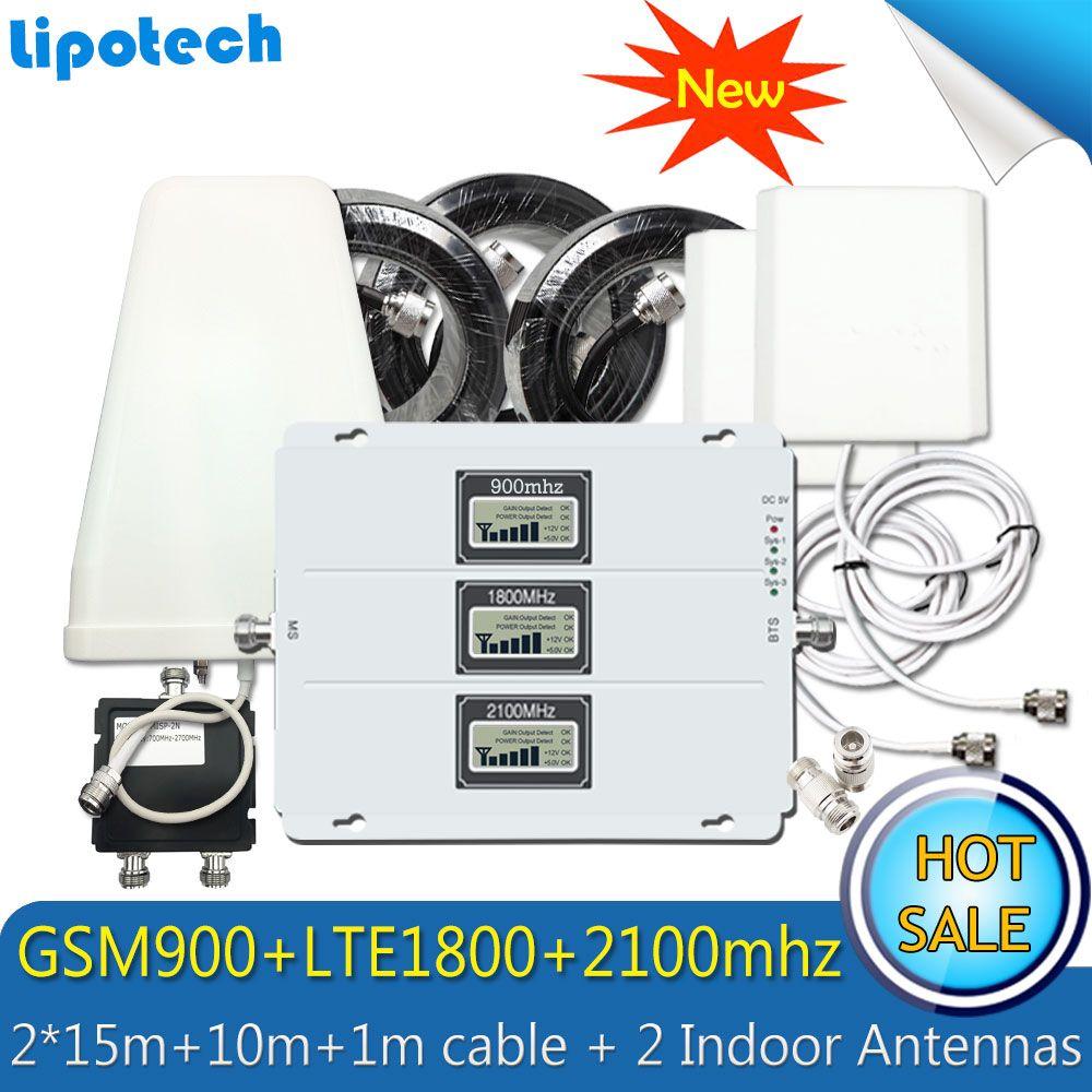 2 Innen 3G 4G Antennen Lintratek Tri-band 2G 3G 4G Cellular Signal Booster GSM 900 LTE 1800 WCDMA 2100 Mobilen Signalverstärker