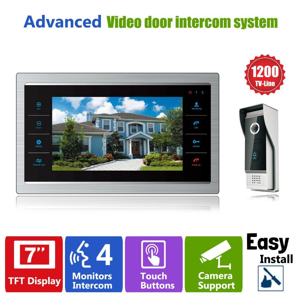 <font><b>Homefong</b></font> 7 TFT 1200TVL Door Monitor Video Intercom Home Door Phone Recorder System SD/TF Card Supported Waterproof Rain Cover
