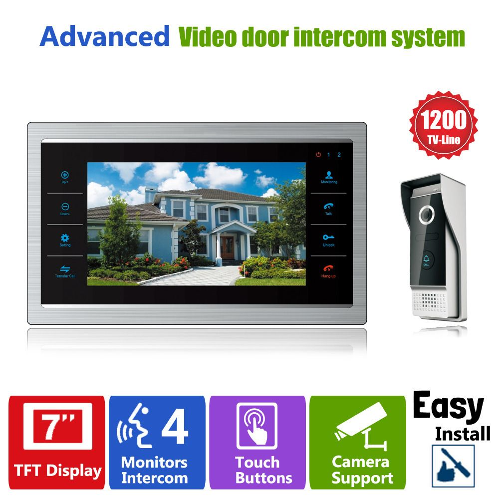 Homefong 7 TFT 1200TVL Door Monitor Video Intercom Home Door Phone Recorder <font><b>System</b></font> SD/TF Card Supported Waterproof Rain Cover