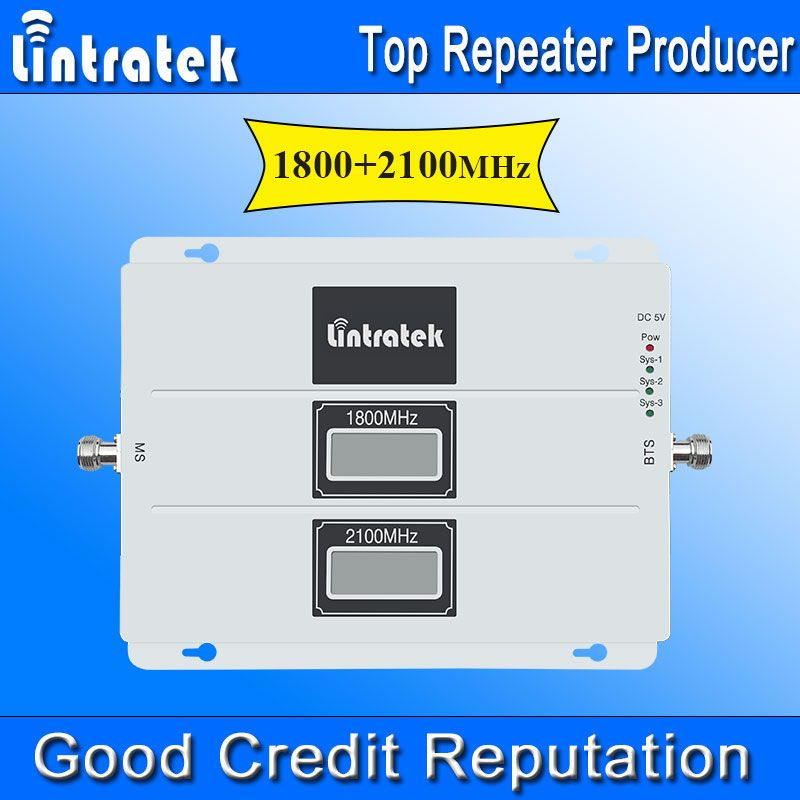 NEW Lintratek LCD Display Signal Booster GSM 1800Mhz 3G WCDMA 2100MHz 4G LTE 1800MHz Cell Phone Repeater Amplifier with AGC *