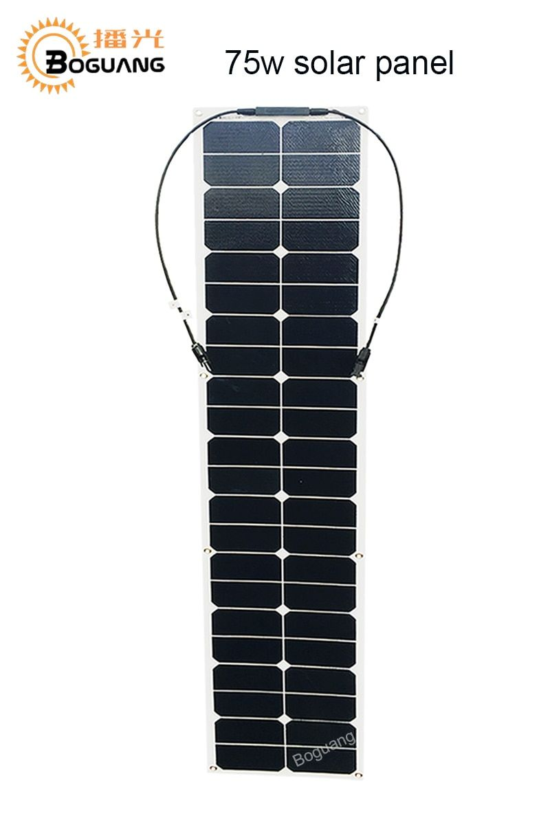 BOGUANG 75w semi flexible solar panel ETFE solar module efficient cell MC4 connector for 12v battery RV car yacht power charger