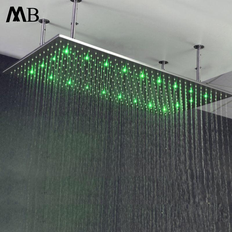 Großen Regen Showerhead LED Wasser Power Regen Bad Duschen LED-beleuchtung Dusche Köpfe Led Temperatur Mit Dusche Arme Gebürstet