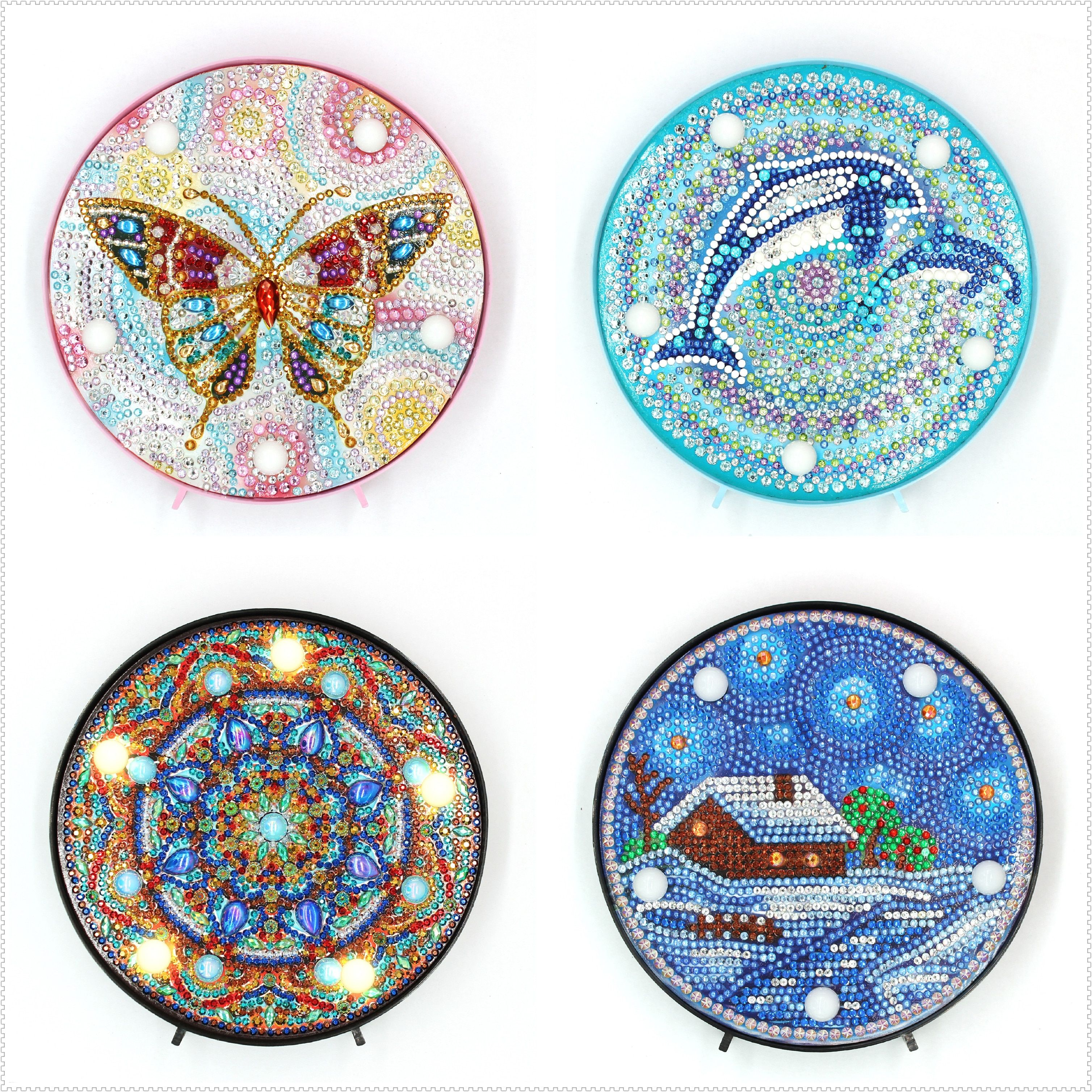 Shirliben Hot Sale Round Circle Animal Mandala Landscape Diy Diamond Painting Led Light Lamp On The Table Round Shinny Beads