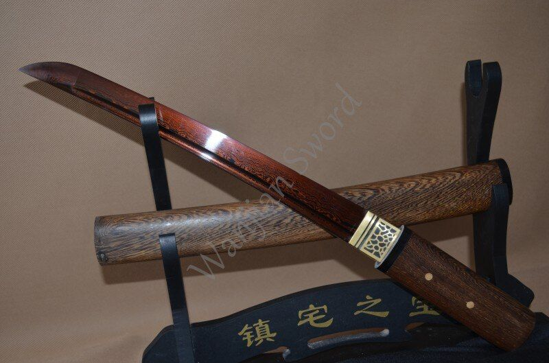 21' ROSE WOOD DAMASCUS FOLDED STEEL RED BLADE JAPANESE SWORD TANTO VERY SHARP CUT BAMBOO