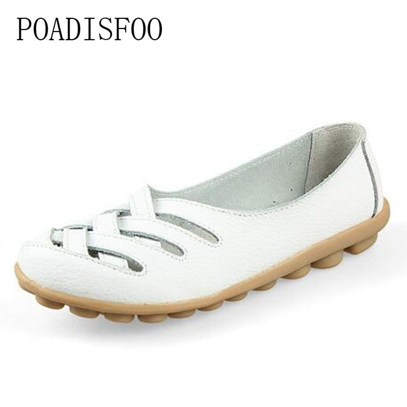 POADISFOO Woman shoes Genuine Leather shoes Flats Drive shoes Hollow summer hollow leather tendon flat fashion shoes.CQY-1199