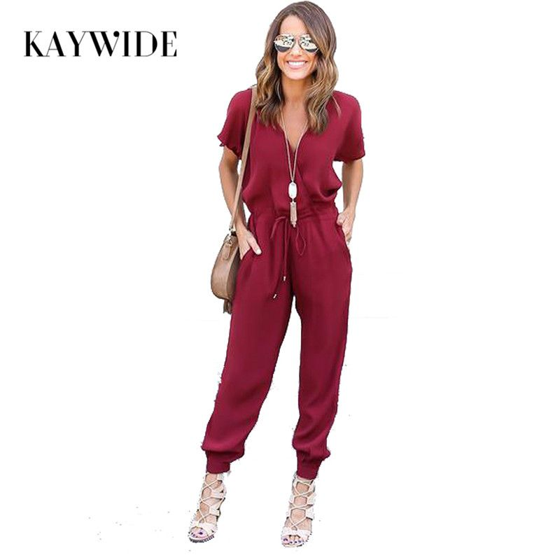 Kaywide Sexy V Neck Pleated Waist Pocket Rompers Womens Jumpsuit Loose Cross Overalls Black Red Short Sleeve Playsuit