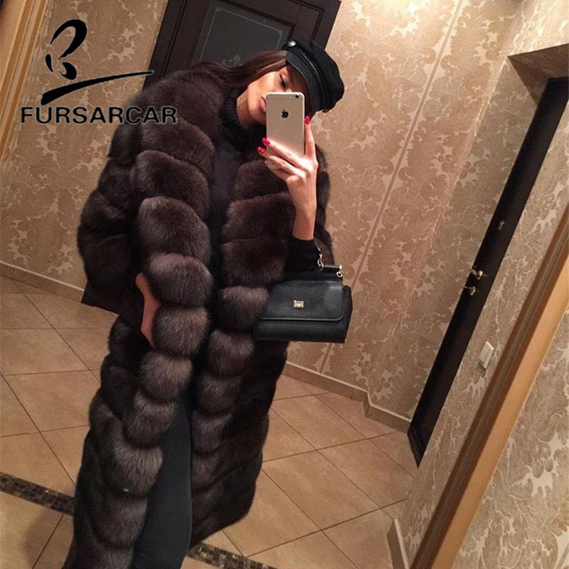 FURSARCAR 2018 New Real Natural Fox Fur Coat With Turn-down Fur Collar 100 CM Long Female Fox Fur Jacket Winter Women Fur Coat