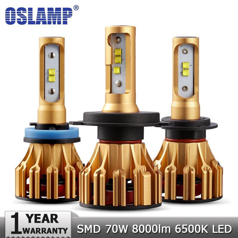 Oslamp H4 H7 H11 9005 9006 voiture ampoules de phares LED salut lo faisceau SMD puce 70W 7000LM 6500K 12v 24v Auto LED phare voiture ampoule