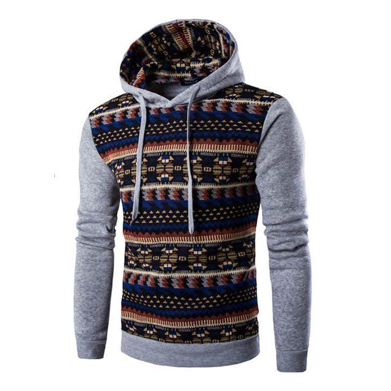 2018 Hoodies Mens <font><b>Hombre</b></font> Hip Hop Male Brand Hoodie Fashion Geometric Print Sweatshirt Men Slim Fit Men Hoody XXL EYRV