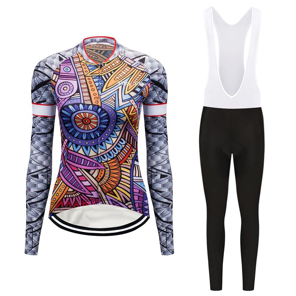 Langarm fahrrad kleidung frauen radfahren jersey set triathlon anzug mtb bike kleidung kleid maillot sport skinsuit tragen outfit