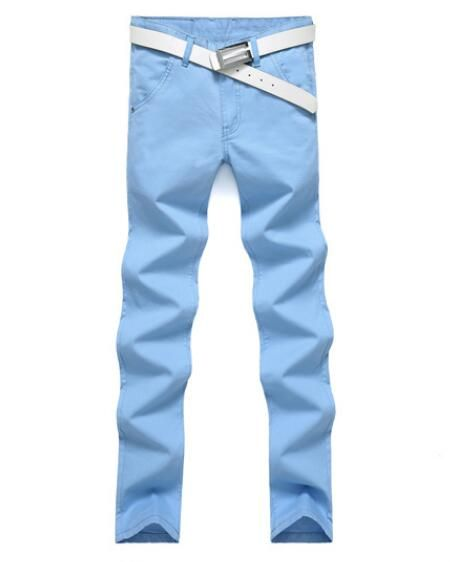2018 spring and summer fashion solid color men's pants candy color Slim stretch casual pants
