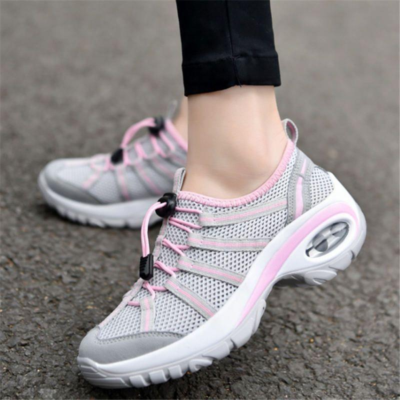 Été 2018 Sneakers femmes wedge chaussures de course pour femmes Sport chaussures femme Air coussin Marche Jogging Respirant Maille arena