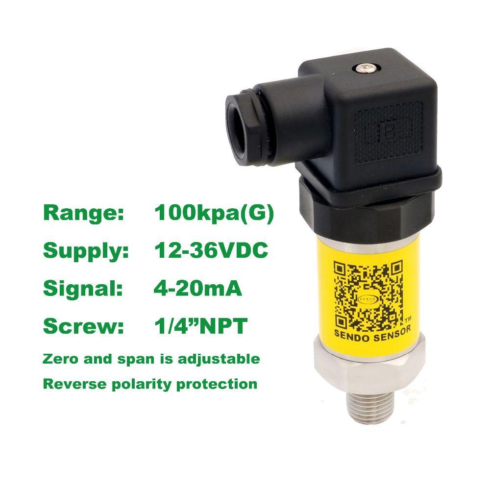 pressure sensor 4-20mA, 12-36V supply, 100kpa/1bar gauge, 1/4