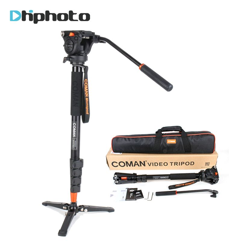 Professional Coman Aluminum Alloy Video Tripod Monopod with Fluid Pan Head Unipod Holder for Canon Sony Nikon Panasonic GH5 DSLR