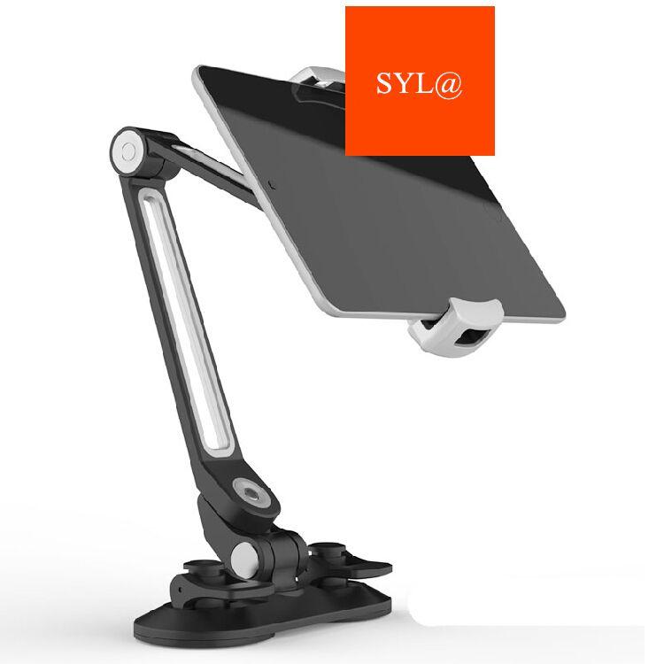 Universal Tablet Auto Halter Aluminium Legierung Arm Ergonomische 360 Grad Drehbare Doppel Sucker Faule Menschen Stehen für iPad iPhone
