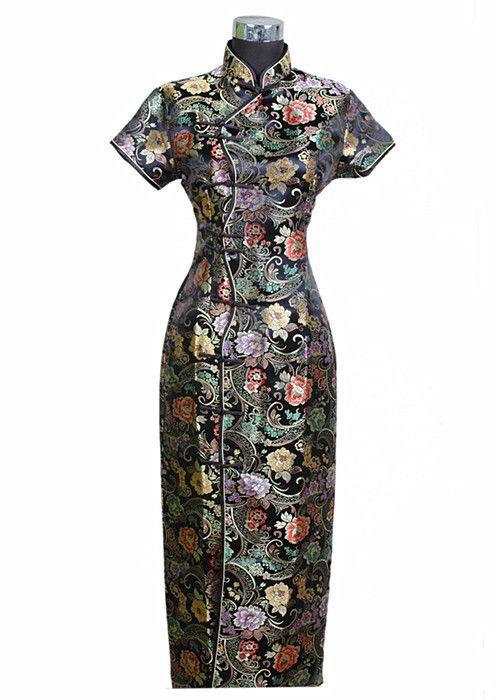 Noir traditionnel chinois robe Mujer Vestido nouveau femmes Satin Long Cheongsam Qipao vêtements fleur S M L XL XXL XXXL J0024