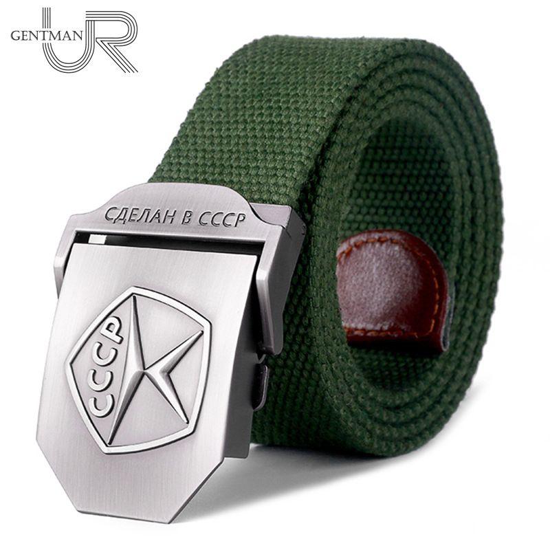 Nouveau hommes et femmes haute qualité ceinture 3D qualité soviétique marque toile ceinture militaire soviétique mémoire luxe Jeans ceinture tactique