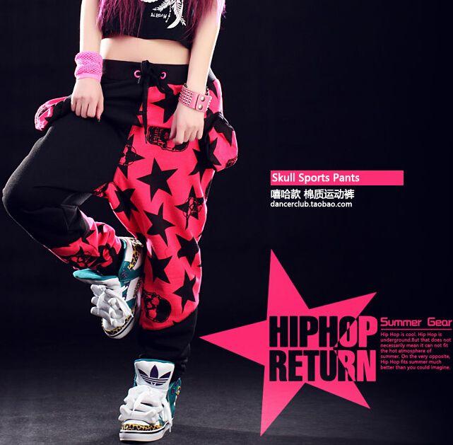 Fashion Brand Harem Hip Hop Dance pants Kids Adult <font><b>Stars</b></font> patchwork candy pentastar sweatpants Panelled Spliced skull punk pants