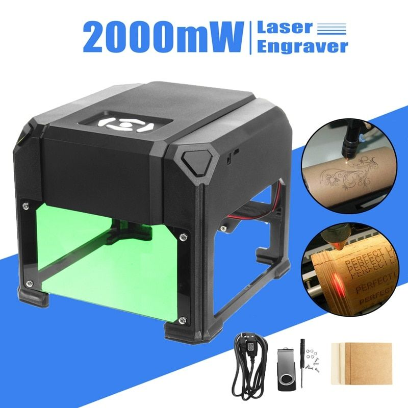 2000mW USB Desktop Laser Engraving Machine DIY Logo Mark Printer Cutter CNC Laser Carving Machine Upgraded FOR WIN/Mac OS System