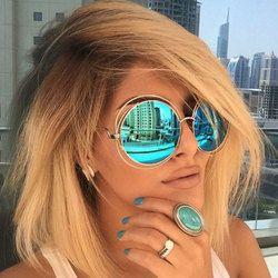 De luxe Ronde lunettes de Soleil Femmes Marque Designer 2018 Vintage Rétro Surdimensionné Lunettes De Soleil Femme Lunettes de Soleil Pour Femmes Lunettes De Soleil Miroir