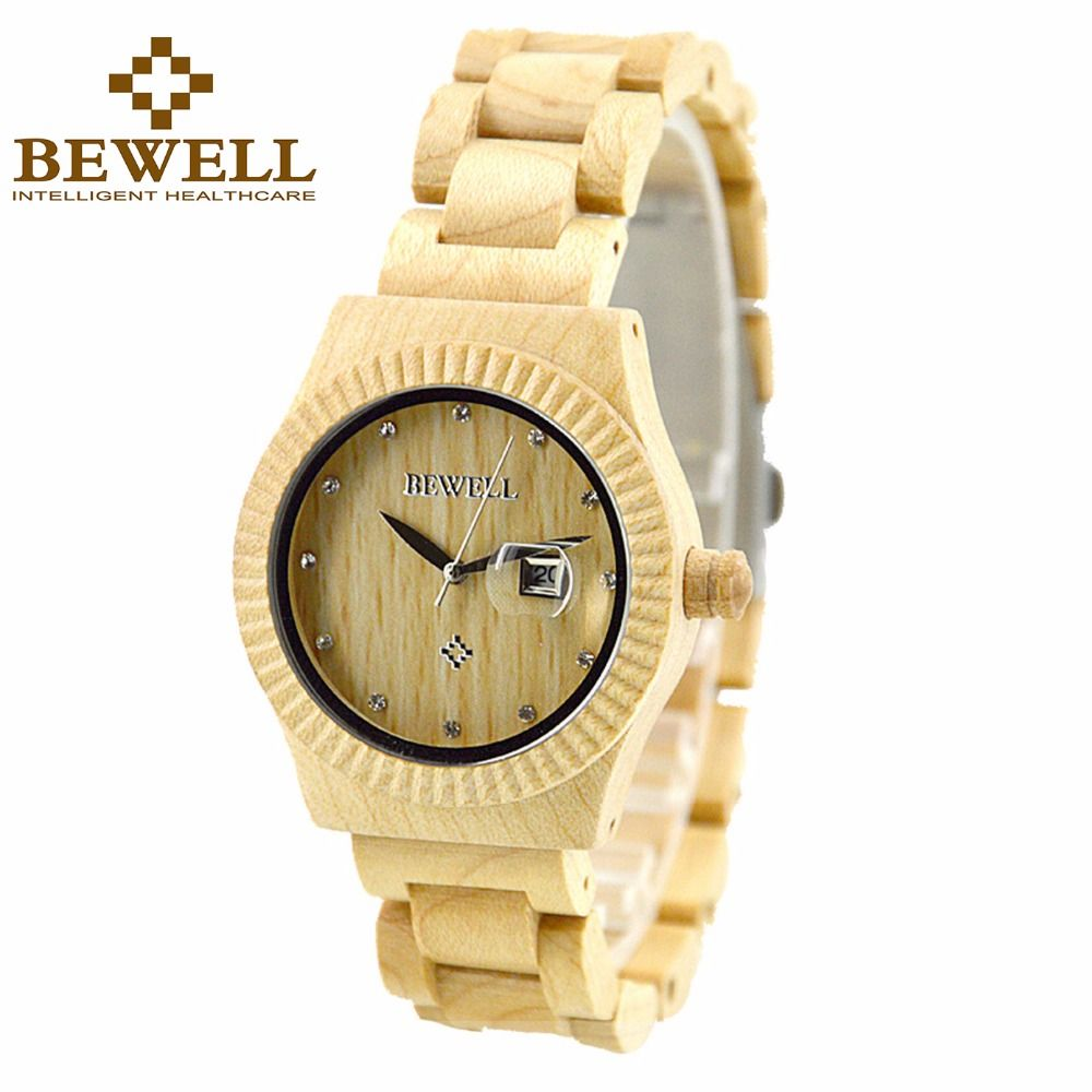 BEWELL Casual Women's Wood Watch with Date Analog Quartz Wooden Wrist Watch with Gift Box Clock Relogio 064AL