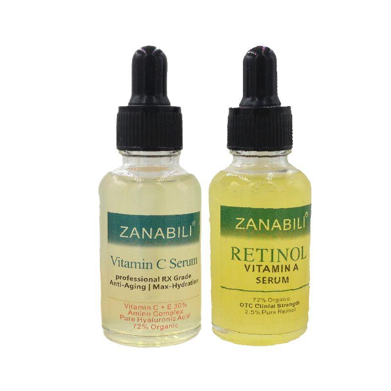ZANABILI Rétinol Pur Vitamine A 2.5% + 30% Vitamine C + E 100% ACIDE HYALURONIQUE Sérum Pour Le Visage Anti-Vieillissement hydratant Crème Pour Le Visage