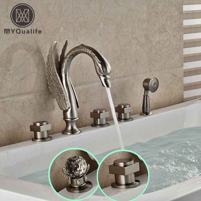 Luxus Swan Form Verbreitet Badewanne Mischbatterie Deck Montieren 5 Löcher Nickel Gebürstet Badewanne Dusche Wasserhahn Set