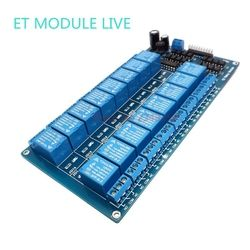 1pcs 12V 16 Channel Relay Module for arduino ARM PIC AVR DSP Electronic Relay Plate Belt optocoupler isolation with LM2596 power