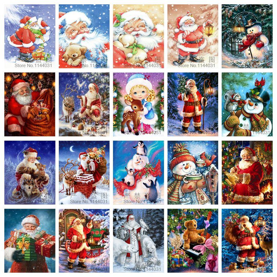 Полный DIY алмазов картина Вышивка вышивки крестом Санта Клаус для Рождественский подарок Алмазная мозаика рукоделие Книги по искусству укр...