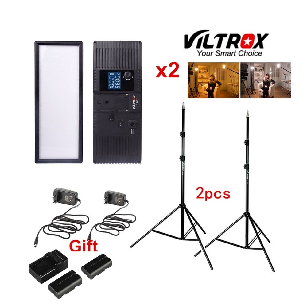 Viltrox L132T Bi-Color Dimmable LED Video Light x2 +2x Light Stand +AC Adapter + battery charger for DSLR Camera Studio lighting