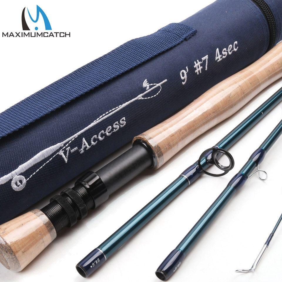 Maximumcatch v-access 3/4/5/6/7/8/9/10/12wt canne à pêche à la mouche 8ft-10ft canne à mouche à Action rapide en fibre de carbone avec Tube Cordura