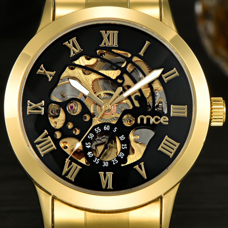 2017 New MCE Mens Luxury Gold Roman Numerals Stainless Steel Watch Men Automatic Mechanical Business Wrist Watch 331