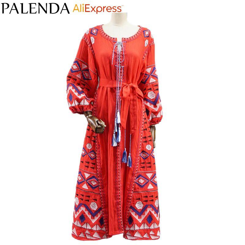 2016 nouveau boho broderie robe bohème rouge caftan maxi longue cheville-longueur coton réel photo grande taille lâche widefit rouge