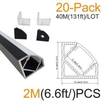 20sets/lot 20x2M(6.6ft) Black V-Shape Corner Aluminum LED Channel for LED Strip Installations Aluminum Housing LED Profile