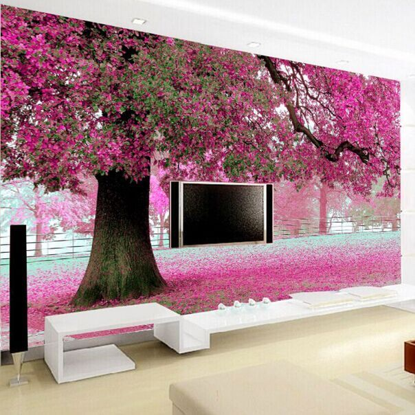 Purple flower tree 3D wall papers Cherry Blossom Wallpaper Murals for TV backdrop Wedding Room papel de parede
