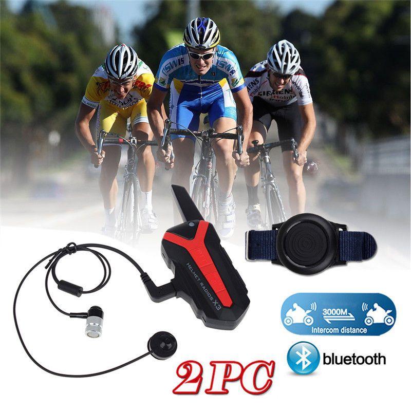 2x Bluetooth Bicycle Helmet 1.5-3KM Group Intercom Headset Walkie Talkie X3 Plus