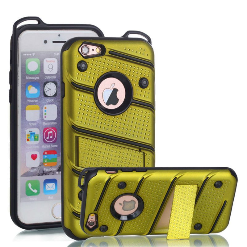 for Apple iPhone 6 6S [Charm] Wave Point & Twill Hybrid PC+TPU Armor Case With Built in Stand Cell Phone Back Cover