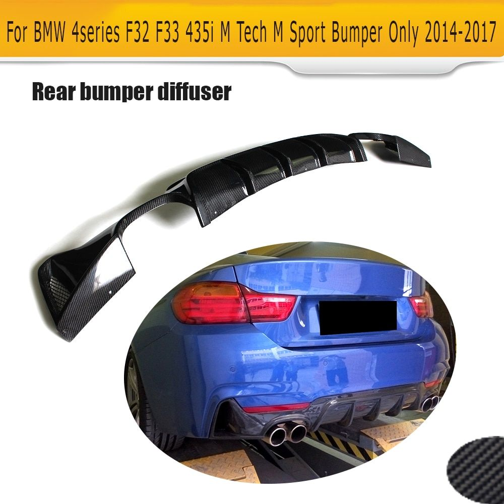4 Series Carbon Fiber Car Rear bumper lip diffuser for BMW F32 F33 M Sport Only 14-17 435i 420i Cabriolet Four Outlet