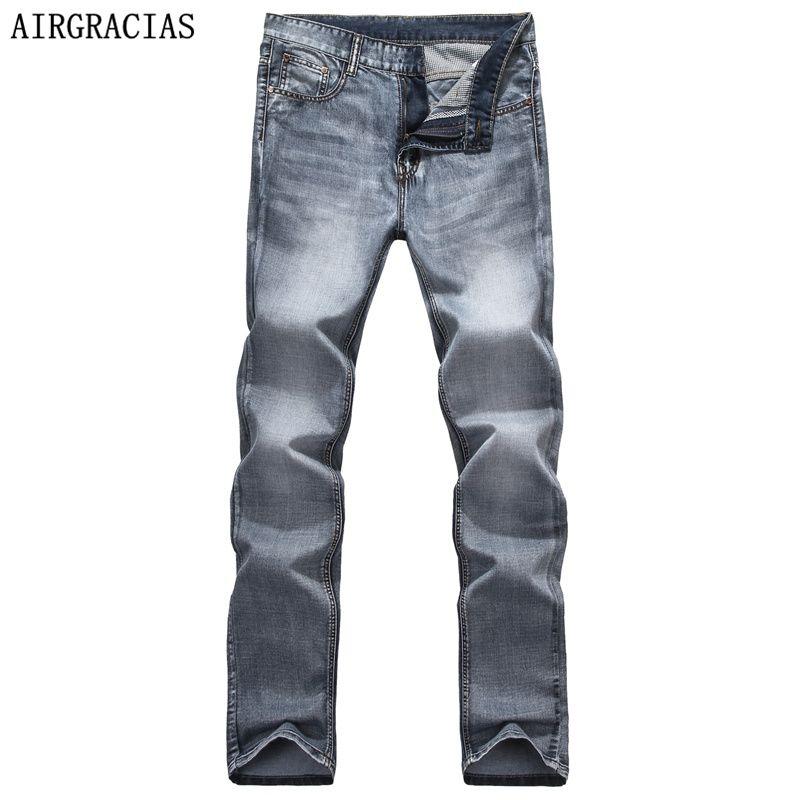 AIRGRACIAS Marca Primavera Verano Retro Nostalgia Recta Denim Jeans Hombres Tamaño 28-40 Hombres Casuales Pantalones Pantalones de Ciclista Jean