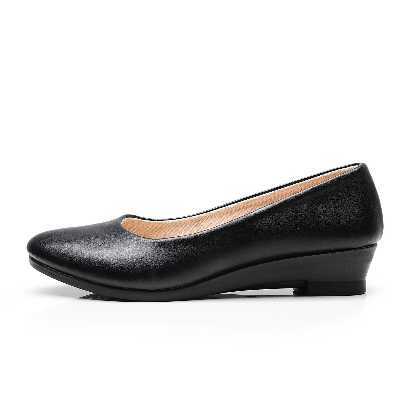 Femmes Ballet chaussures plates noir femmes décontracté PU cuir chaussures pour bureau travail bateau chaussures tissu doux mocassins femmes classiques chaussure