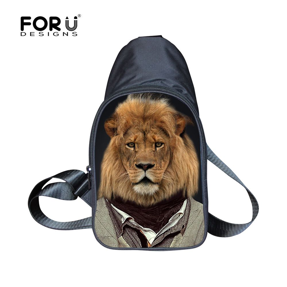 FORUDESIGNS Retro Men's Chest Pack Novelty 3D Animal Travel Bags Lion Dog Wold With Cloth Sling Shoulder Mini Cross Body Bags