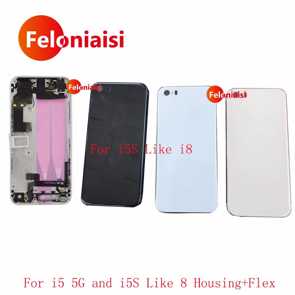 For Iphone 5 5G like 8 and iphone 5S Like 8 style New Full Housing Assembly Back Middle Frame Chassis Battery Rear Cover Door
