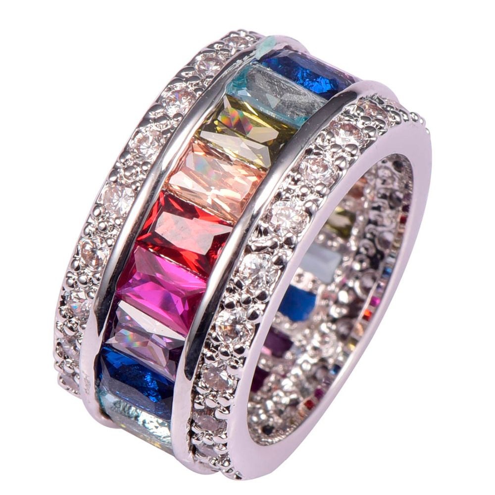 Weinuo Multi Colour Crystal Zircon Ring 925 Sterling Silver Wholesale Retail Hot Sell for Women Ring Size 6 7 8 9 10 11 12