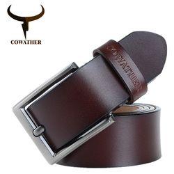 COWATHER 2017 hommes ceinture en cuir de vache véritable de luxe sangle mâle ceintures pour hommes nouvelle mode classice vintage boucle ardillon dropshipping