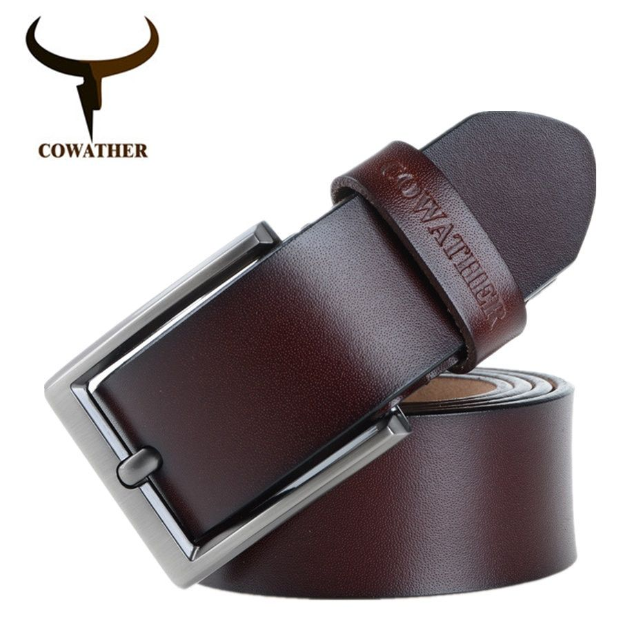COWATHER 2017 men belt cow genuine leather luxury strap male belts for men new fashion classice vintage pin buckle dropshipping